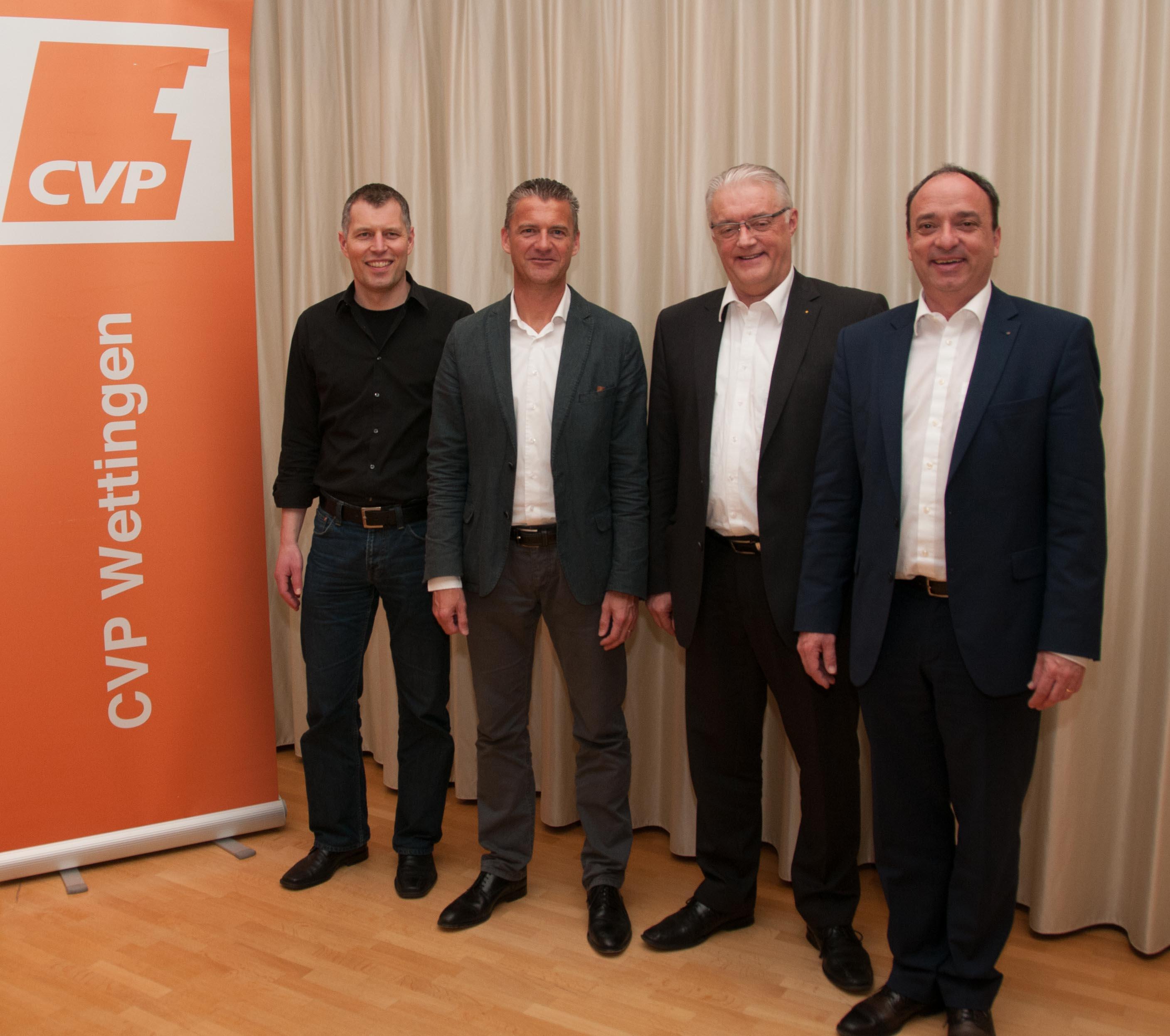 Die Kandidaten für die Grossratswahlen: v.l. Markus Zoller, Roland Michel, Roland Kuster, Markus Dieth.
