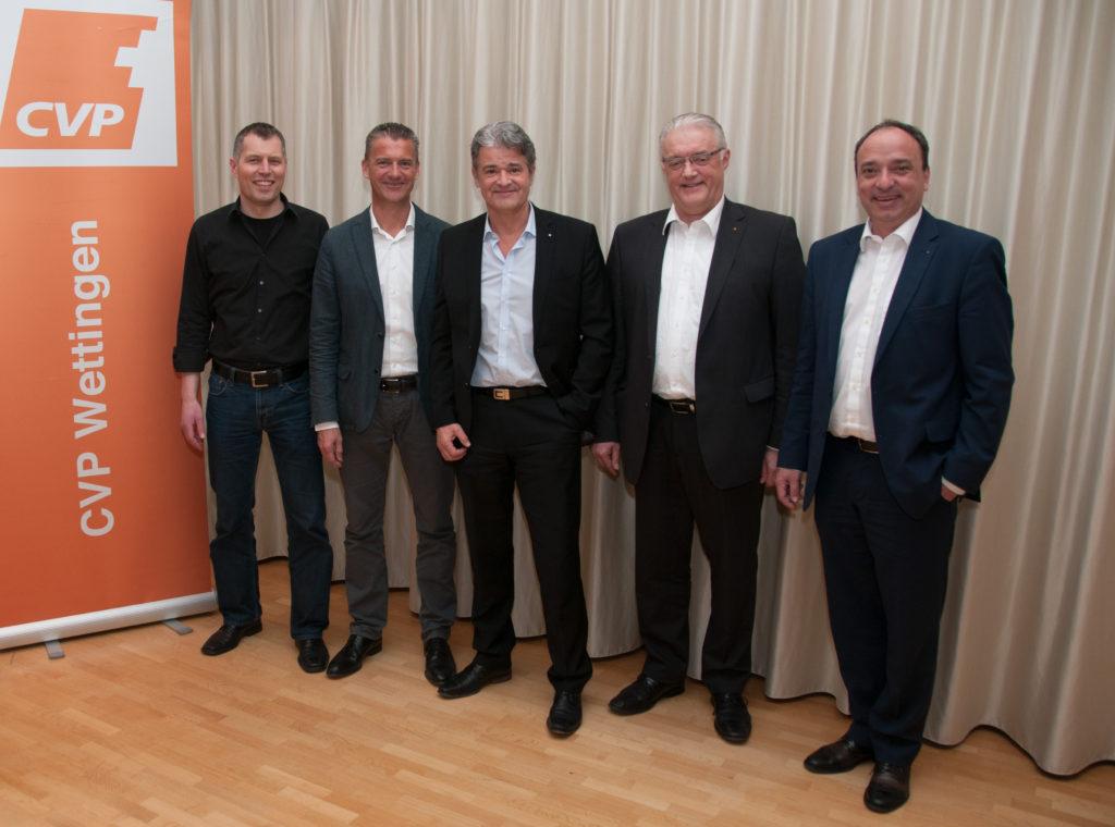 Grossratskandidaten der CVP Wettingen, v.l.: Markus Zoller, Roland Michel, Roland Brühlmann, Roland Kuster, Markus Dieth