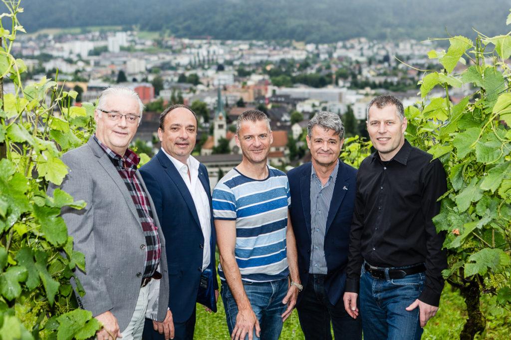 Grossratskandidaten der CVP Wettingen, v.l.: Roland Kuster, Markus Dieth, Roland Michel, Roland Brüllmann, Markus Zoller